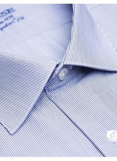 Bisse GM18K82036 Regular Fit Çizgili Klasik Gömlek Lacivert